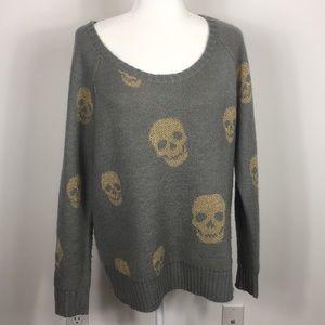 Torrid Grey Gold Sparkle Skull Pullover Sweater